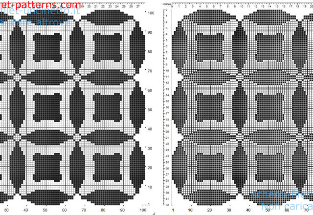 Free filet crochet doily pattern square shape with circles and geometric shapes 101 squares