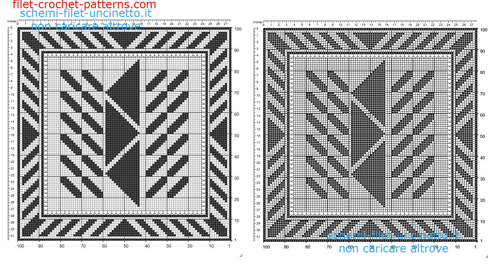 Free filet crochet doily square with geometric shapes