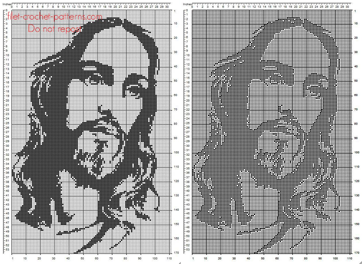 Free filet crochet pattern Jesus face 110 x 170 squares religious category