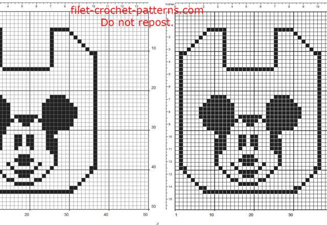 Free filet crochet pattern download baby bib with Disney Mickey Mouse