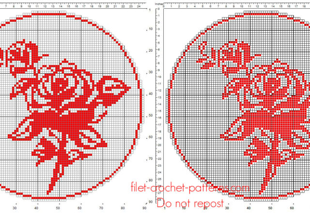 Free filet crochet pattern round doily red color with roses size 90 squares