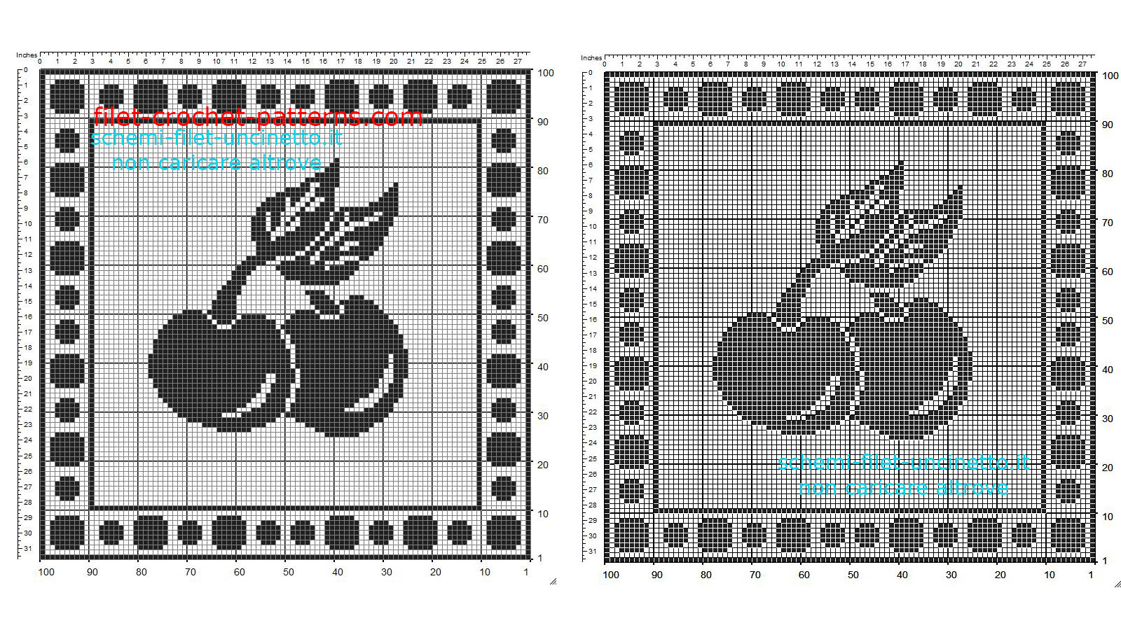 Free filet crochet pattern square doily with fruit cherries 100 squares