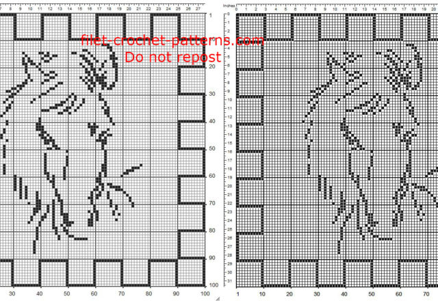 Free filet crochet pattern squared doily with a horse 100 squares