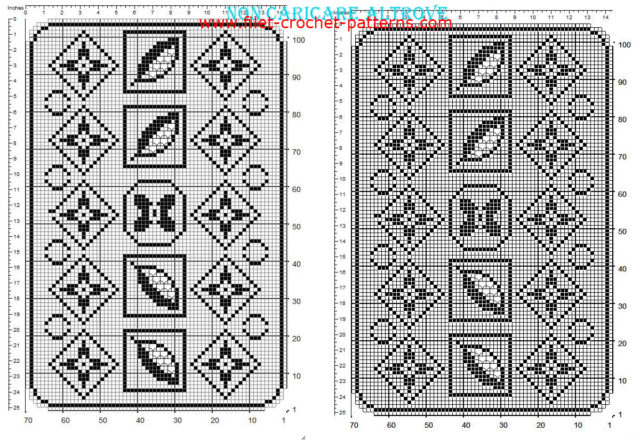 Free filet crochet rectangular doily with floral pattern made with software 70 x 100 squares