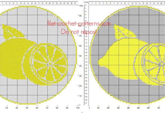 Free filet crochet round doily pattern with fruit lemons free download 100 x 100