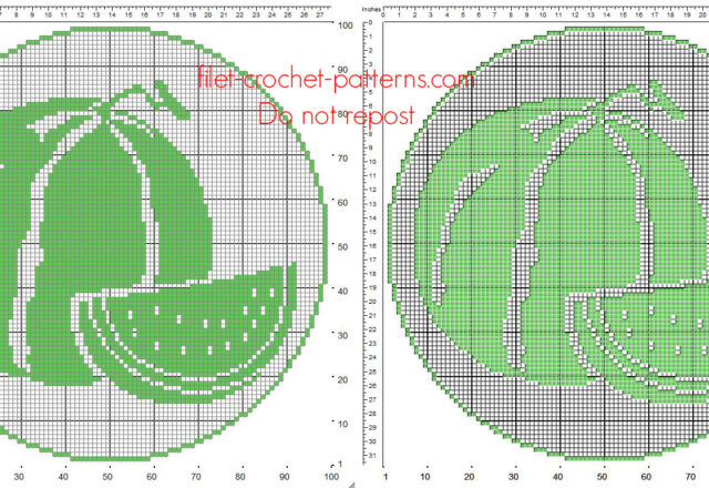 Free filet crochet round doily pattern with summer fruit watermelons size 100 x 100