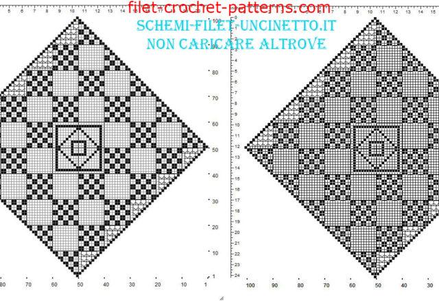 Free filet crochet square doily diamond shape with geometric squares