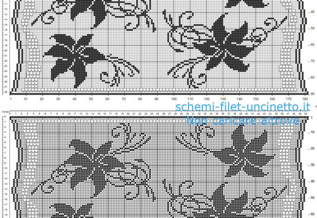Free filet crochet table runner with flowers lilies free pattern download 180 x 90 squares