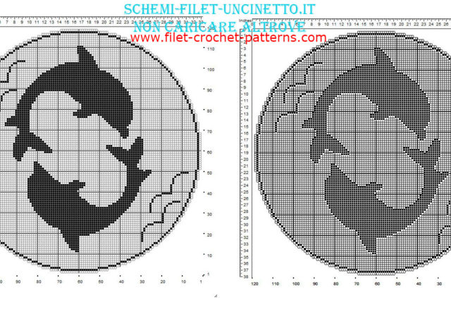 Free filet round doily with two dolphins 120 squares