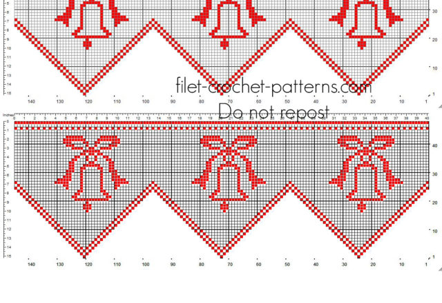 Free pattern Christmas red border crochet filet with Christmas bells