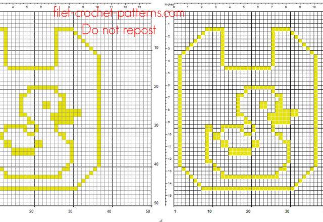 Free pattern crochet filet baby bib with duck