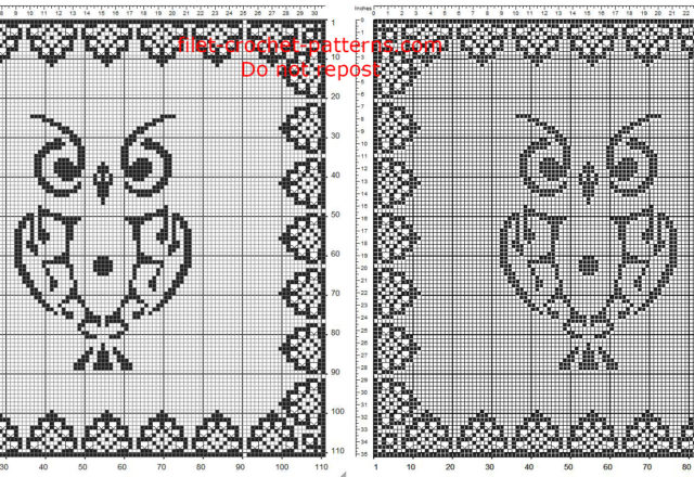 Free pattern download filet crochet square doily with owl and special border