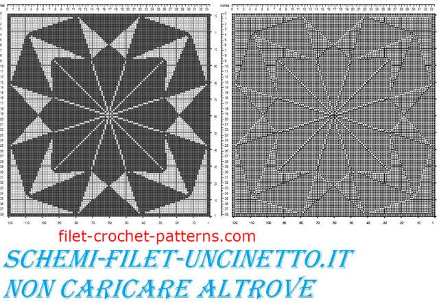 Geometric square doily free filet crochet pattern