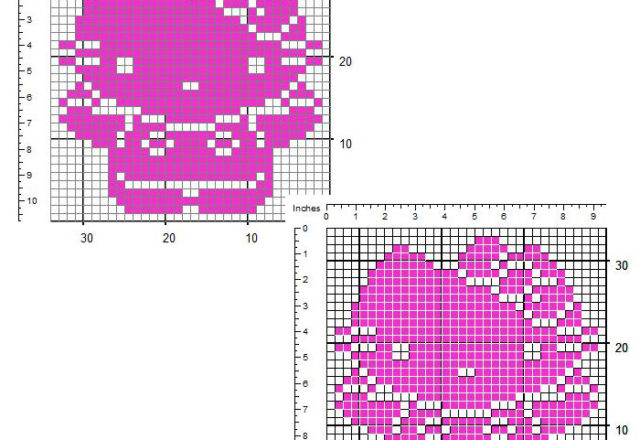 Hello Kitty small free crochet filet insert design 32 x 32