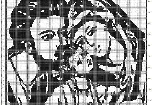 Holy Family free crochet filet pattern design 130x130