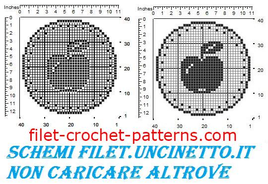 Jar cover apple free filet crochet pattern