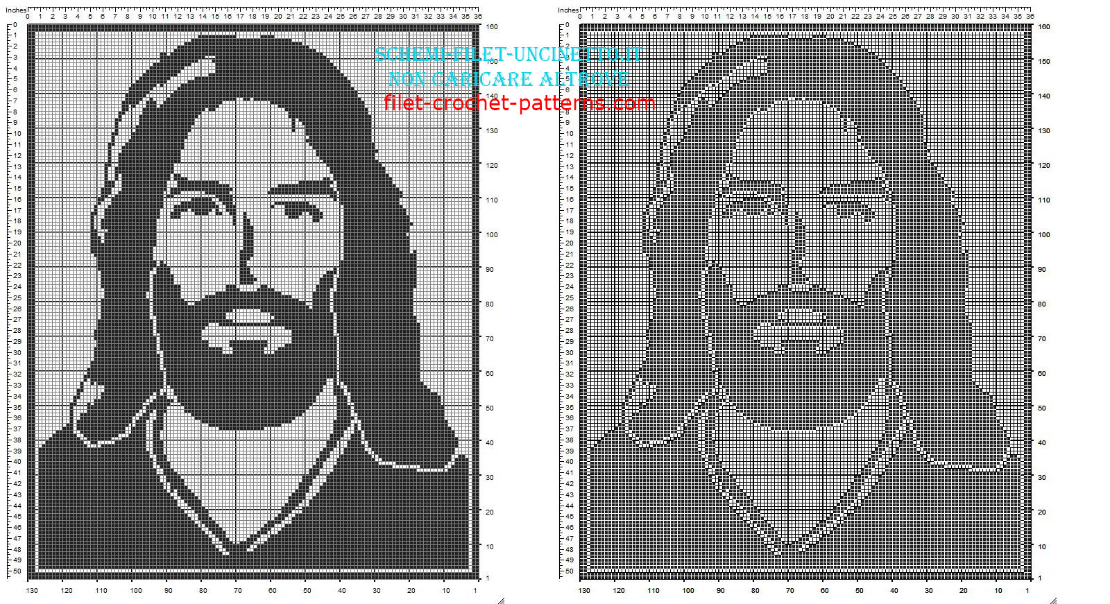 Jesus face free filet crochet pattern in category religious