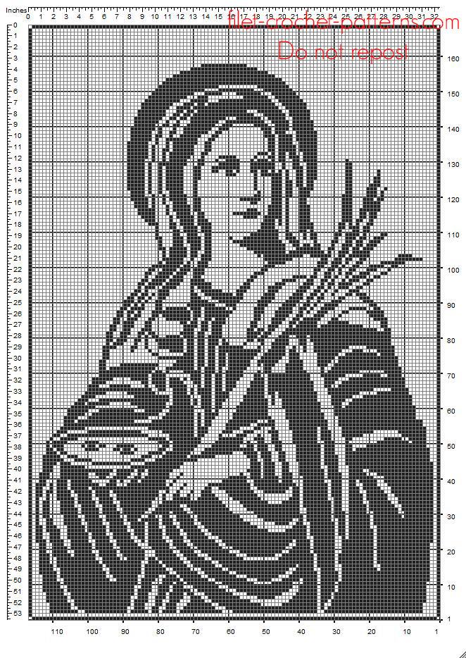 Lucia of Syracuse Saint Lucy Saint Lucia free crochet filet pattern