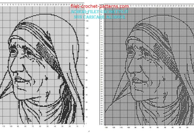 Mother Teresa of Calcutta free filet crochet pattern download