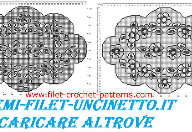 Oval doily flowers and leaves free filet crochet pattern