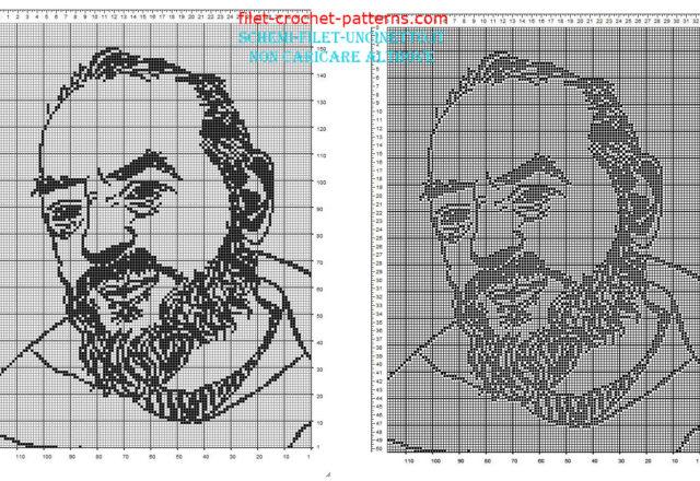 Padre Pio free filet crochet pattern 160 x 110 squares religious category