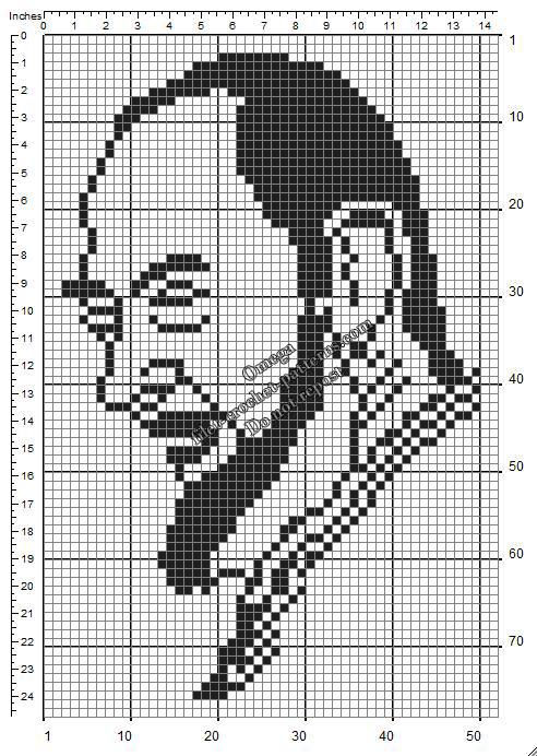 Padre Pio free small filet crochet pattern diagram