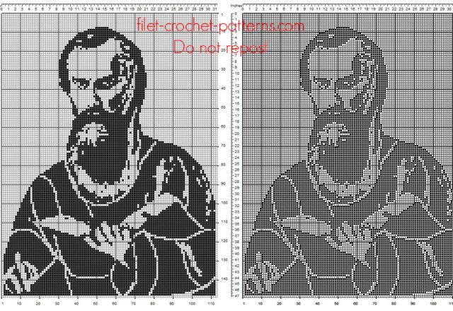 Paul The Apostle free crochet filet pattern
