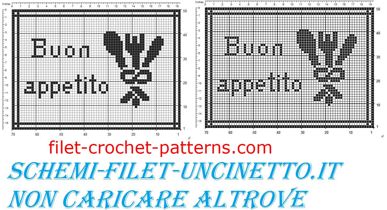 Placemat breakfast with cutlery free filet crochet pattern