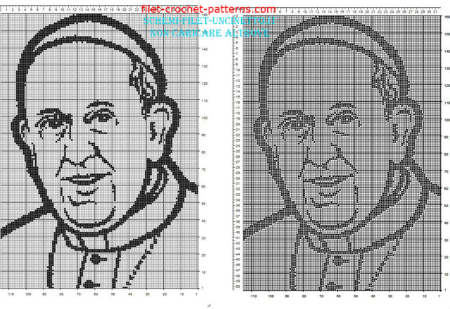 Pope Francis face free filet crochet pattern 160 x 110 squares