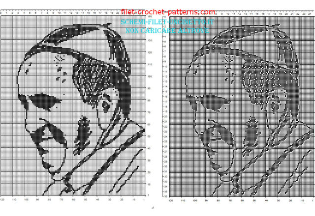 Pope Francis face free filet crochet pattern download