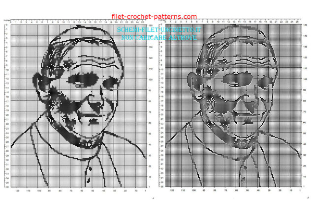 Pope John Paul II Pope Wojtyla free filet crochet pattern