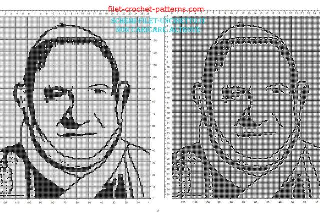Pope John XXIII Pope Roncalli face free filet crochet pattern
