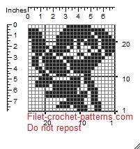Poppy pattern filet crochet