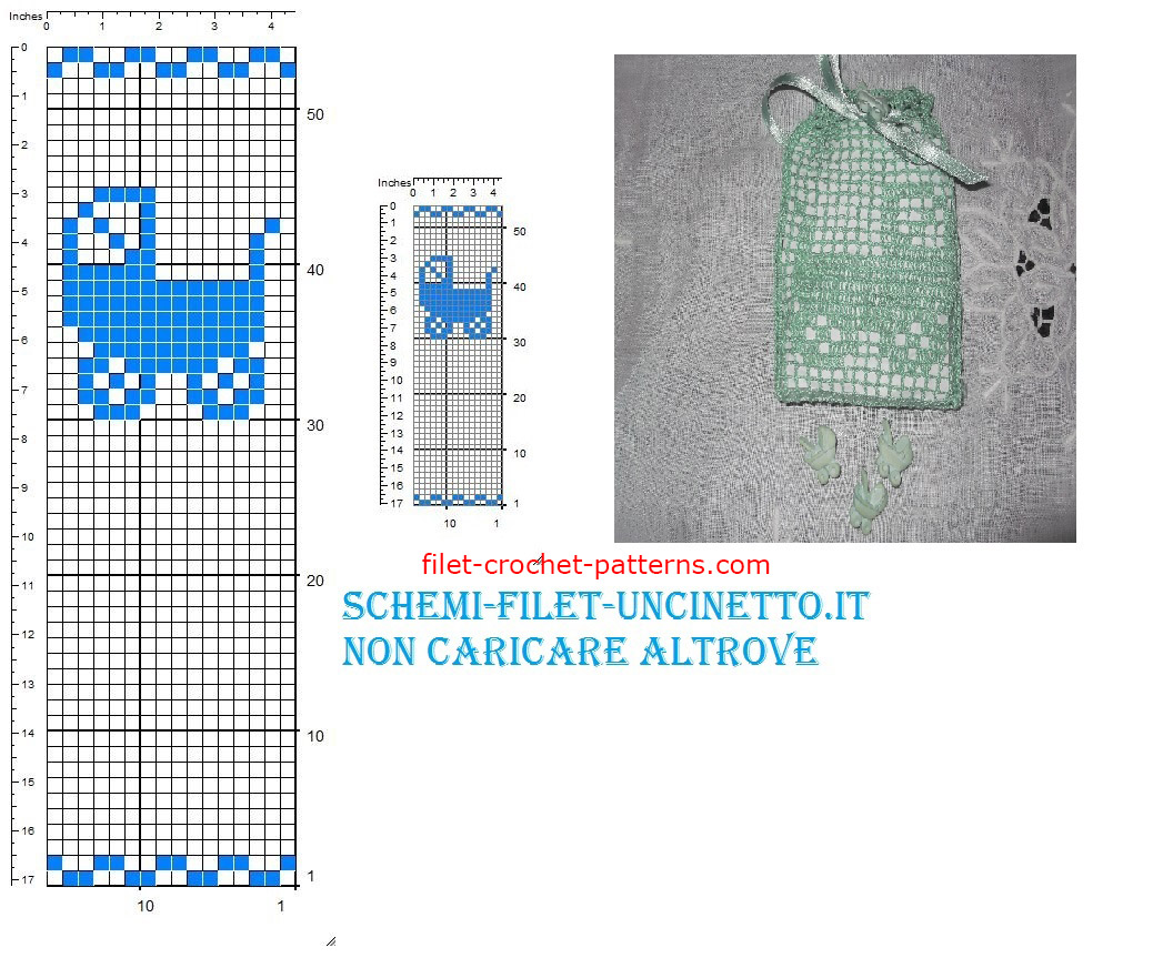 Pram favor bag free filet crochet pattern download