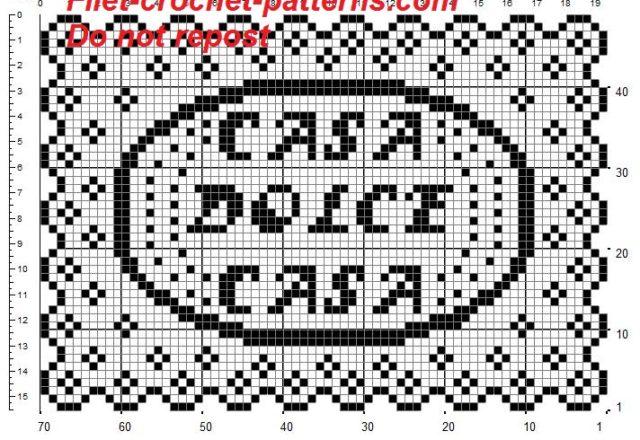 Rectangular doily crochet pattern filet for tray casa dolce casa