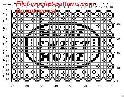 Rectangular doily crochet pattern filet for tray home sweet home