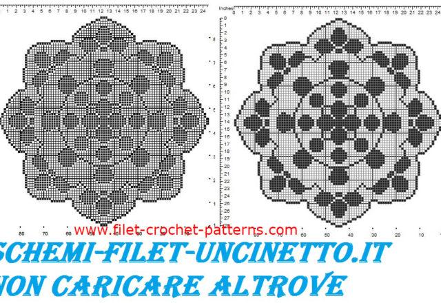 Round doily petals free filet crochet pattern