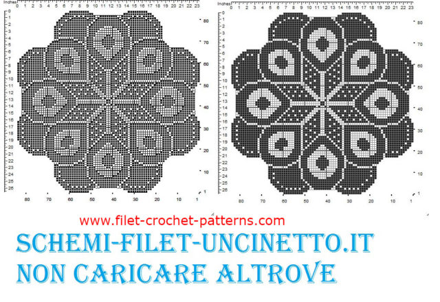 Round doily star free filet crochet pattern