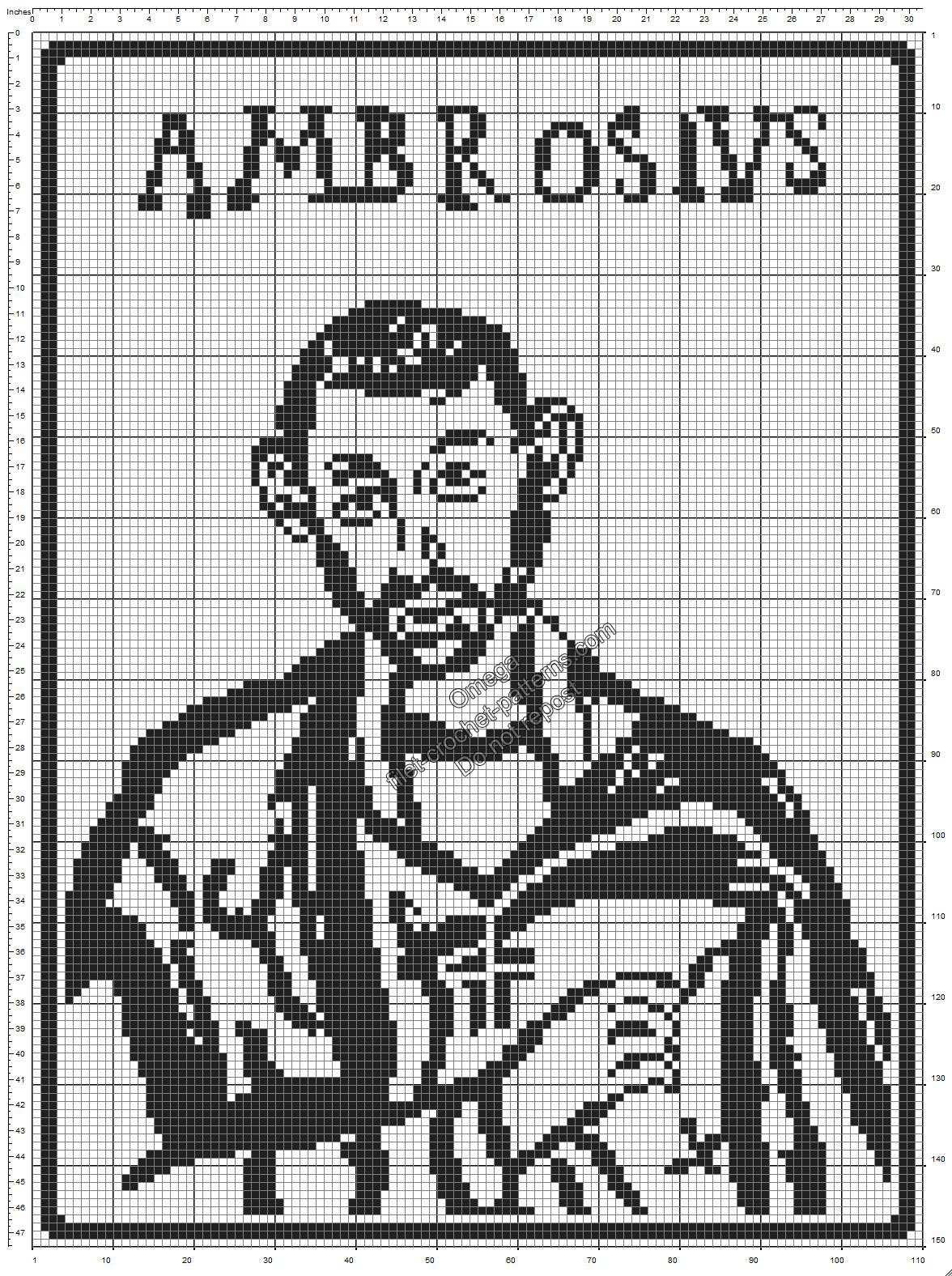 Saint Ambrose free crochet filet pattern 110x150