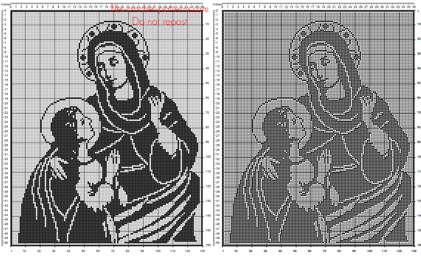 Saint Anne with Virgin Mary free filet crochet religious pattern