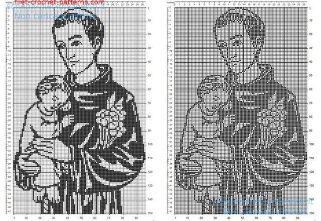 Saint Anthony of Padua free filet crochet pattern size 150 squares