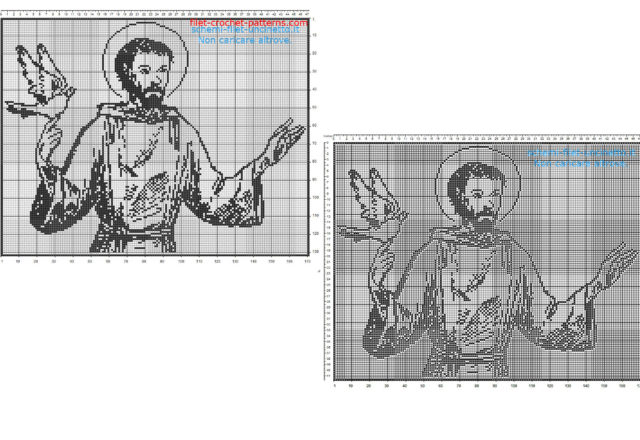 Saint Francis of Assisi free filet crochet pattern home painting idea 170 squares