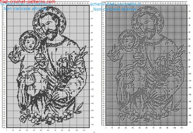 Saint Joseph free filet crochet pattern home painting idea 170 squares