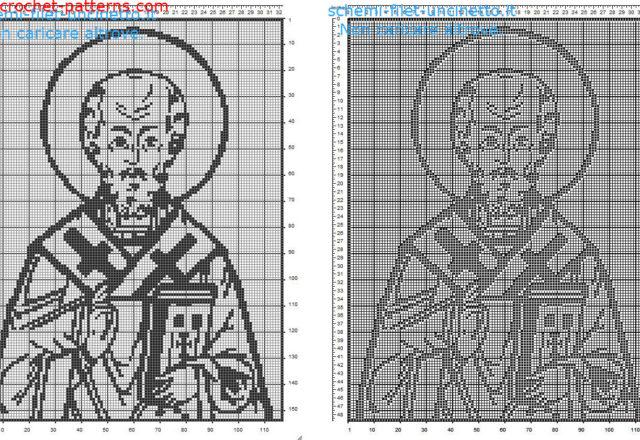 Saint Nicholas of Bari free filet crochet pattern home painting idea