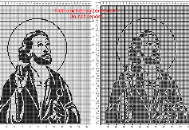 Saint Peter free crochet filet pattern