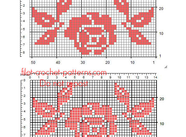 Small crochet filet free insert red rose with leaves 49 x 25 squares