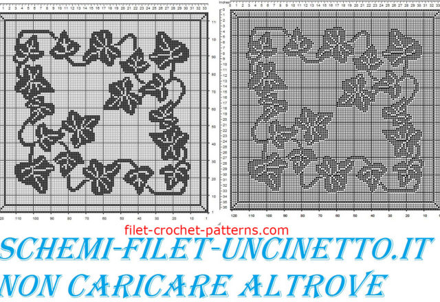 Square doily with ivy free filet crochet pattern
