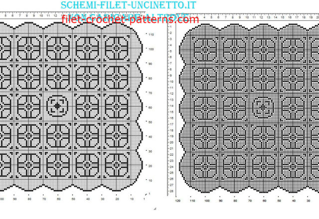 Square filet crochet doily with geometric shapes free pattern 120 squares
