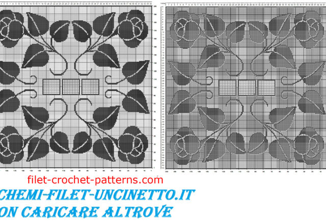 Square tablecloth with roses free filet crochet pattern