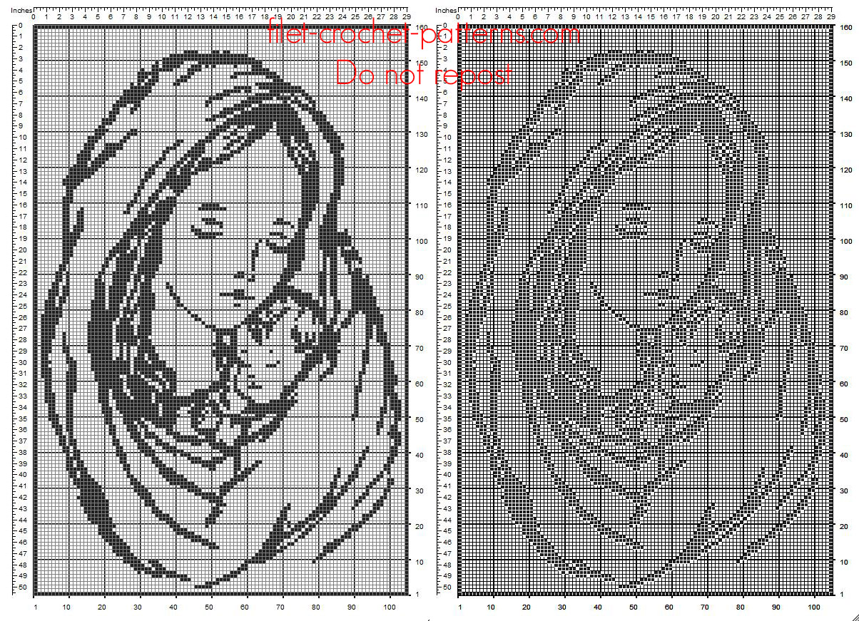 The Virgin and Child free filet crochet pattern size 105 x 150 squares